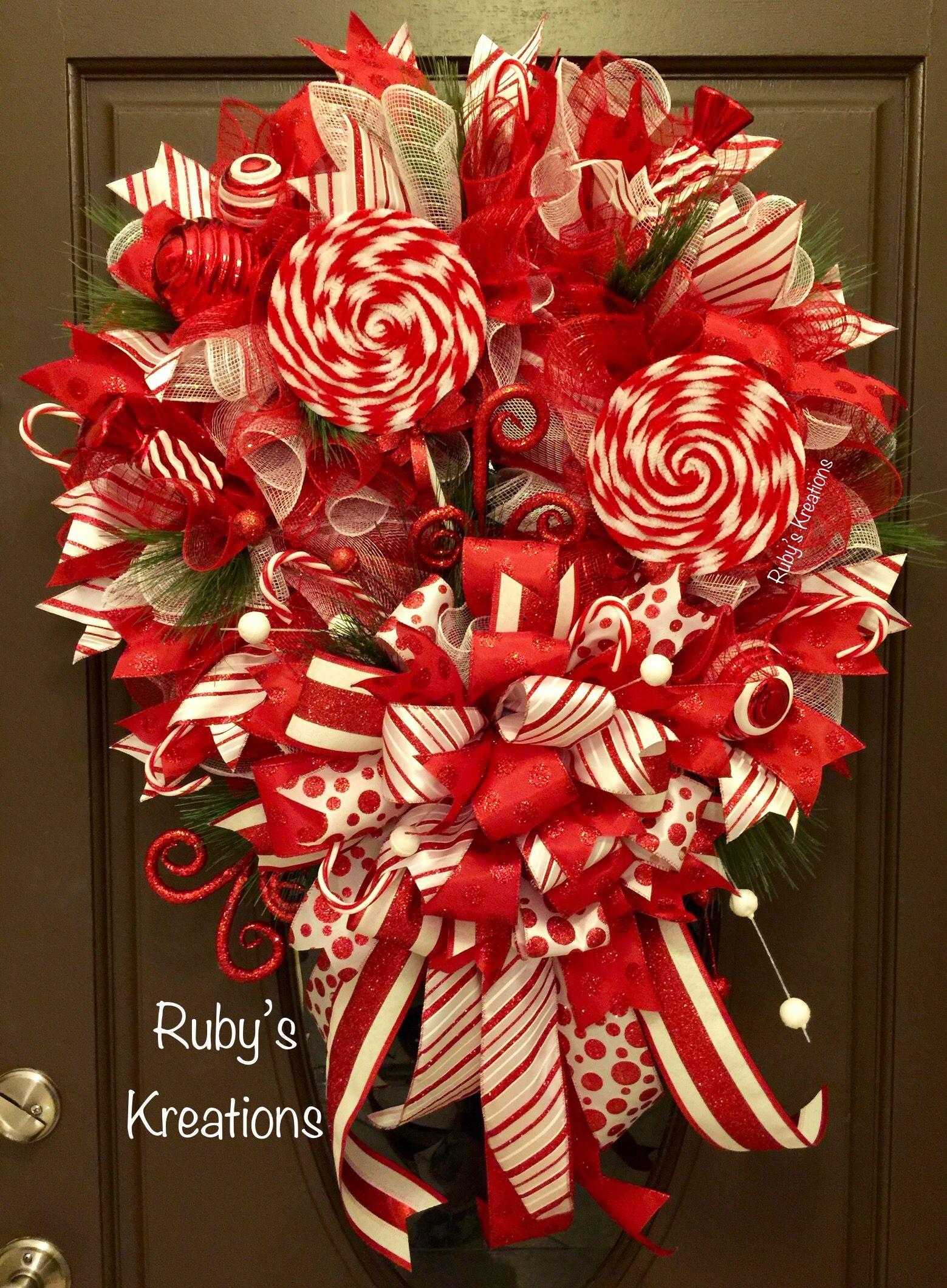 Christmas Wreath Candy Cane Wreath Red & White Wreath