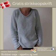 Strikket trøje - oppefra og ned strikkeopskrift   Topping DK