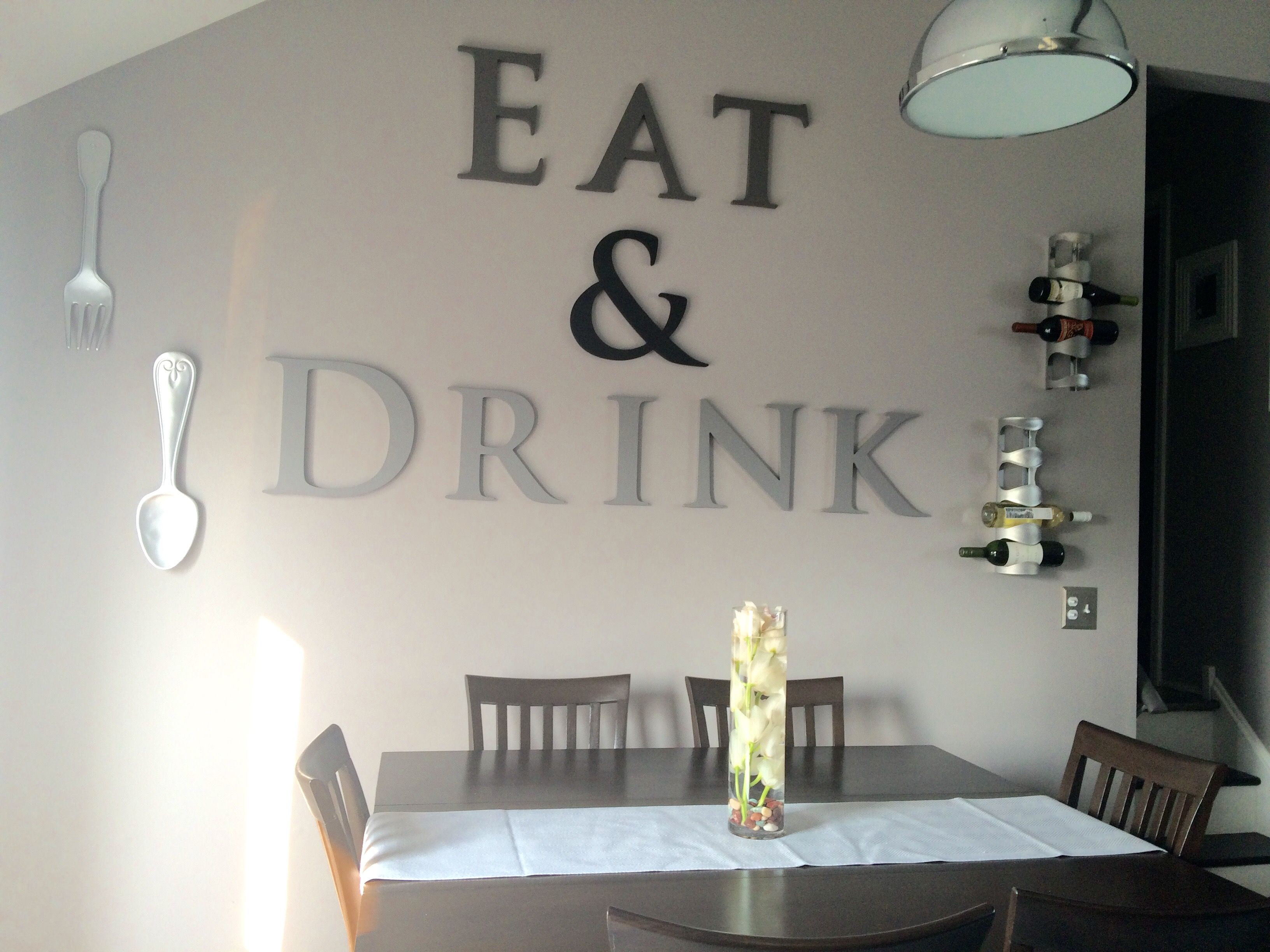 Painted wood letters from Creative Cuts wine racks from Ikea and