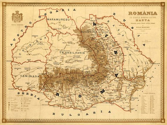 Old Map Of Romania Harta Veche Romania Fine Print Romania