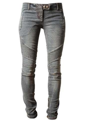 BALMAIN Ribbed Denim Biker Jeans