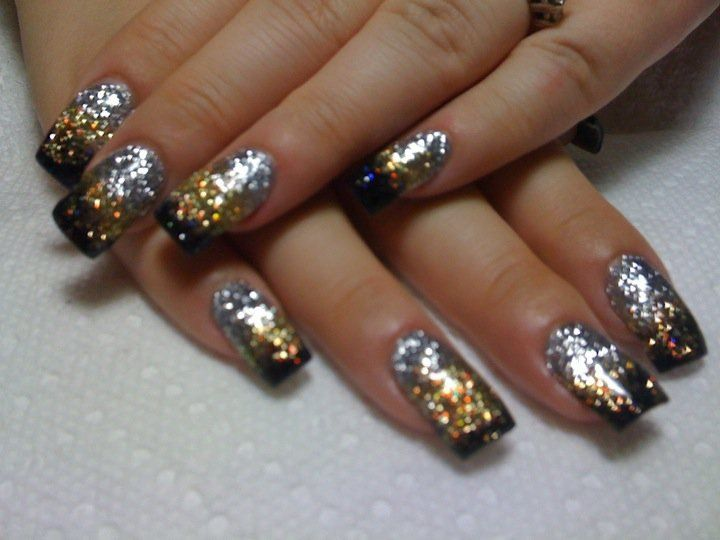 Mgd Nails Black Gold Silver