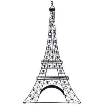 Black Metal Eiffel Tower Wall Decor With Gemstones