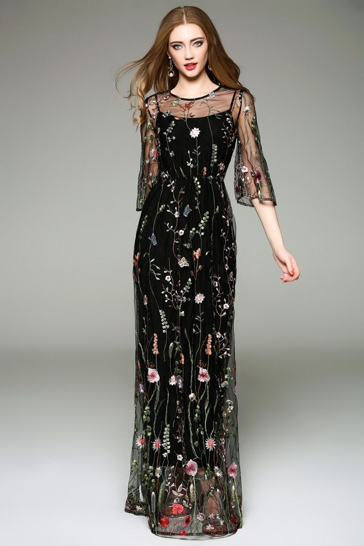 Elegant Black Flower Embroidered Dress Flower Embroidered Dress Black Flower Embroidered Dress Dresses [ 1125 x 750 Pixel ]