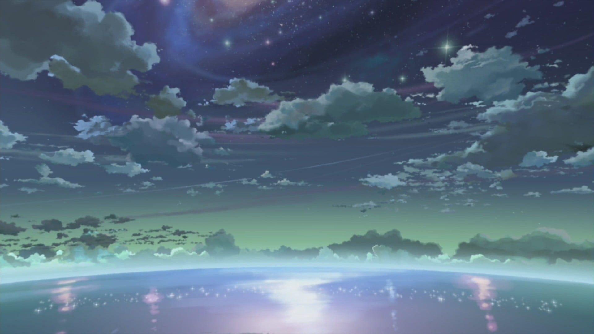 white clouds 5 Centimeters Per Second Makoto Shinkai sky
