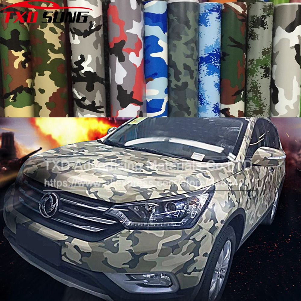 Hot selling premium camo auto sticker vinyls pvc motorfiets carbon sticker militaire camo camouflage woodland decal