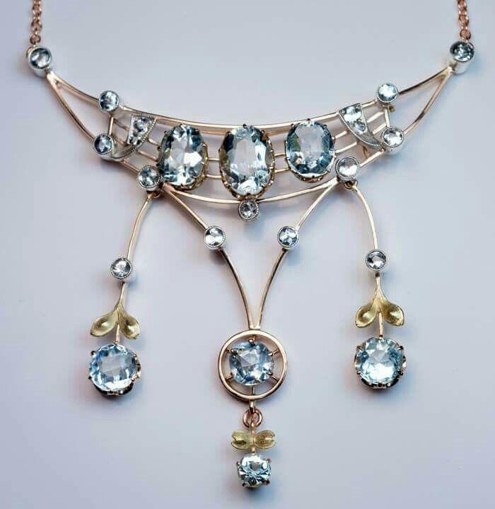 67c538b4f Antique Edwardian Era Aquamarine Gold Pendant Necklace via Romanov Russia