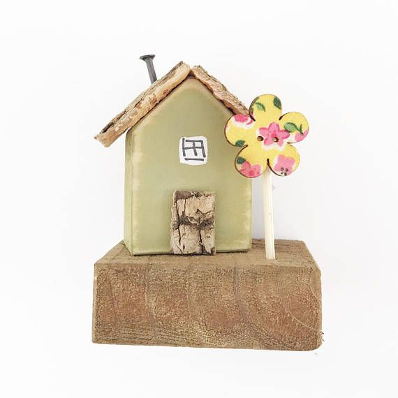 Green Miniature Cottage Ornament Small Wooden Decorative