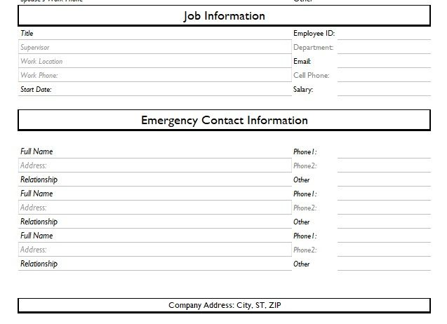 Employee Information Form Excel And Word Templates  Contact Information Template