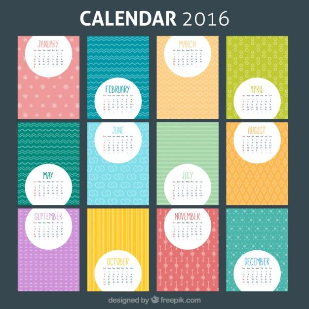 Colorful Modle 2016 Calendrier 2016 Calendar Template And Bullet