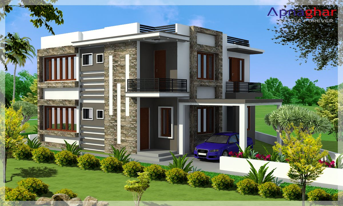 Beautiful duplex house design from apna ghar gallery this for Building duplex homes cost