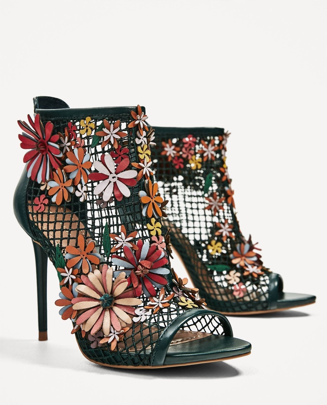 c0c90ae7a6 Zara Ankle Boots Sandals High Heel Floral Mesh Fishnet Multicolor Leather  Ss17