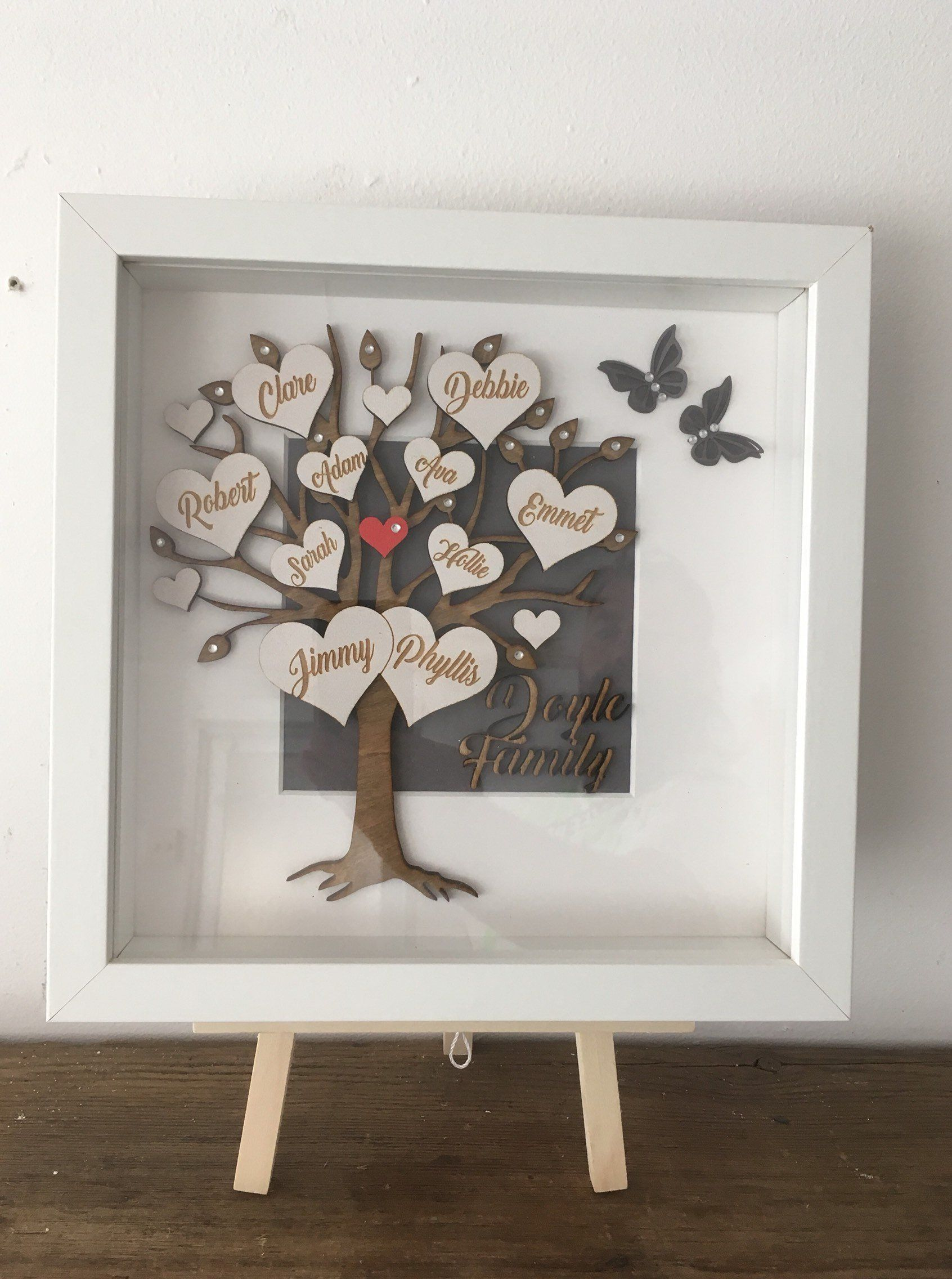 Family tree frame shadow box personalised mothers day gift
