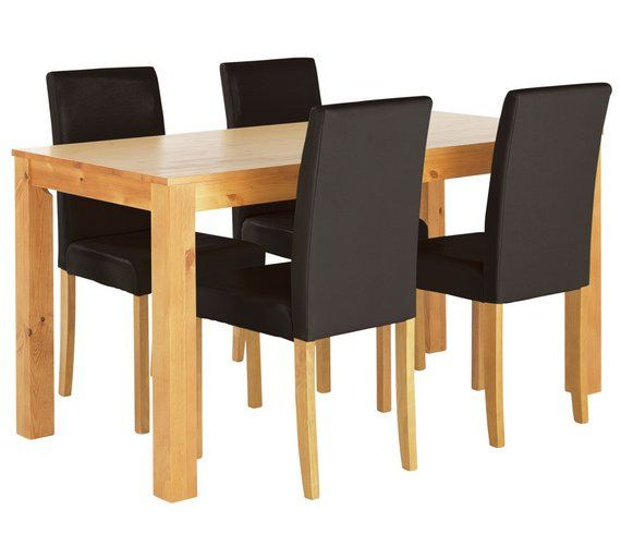 Buy HOME Newton Solid Wood Table & 4 Mid Back Chairs Black at