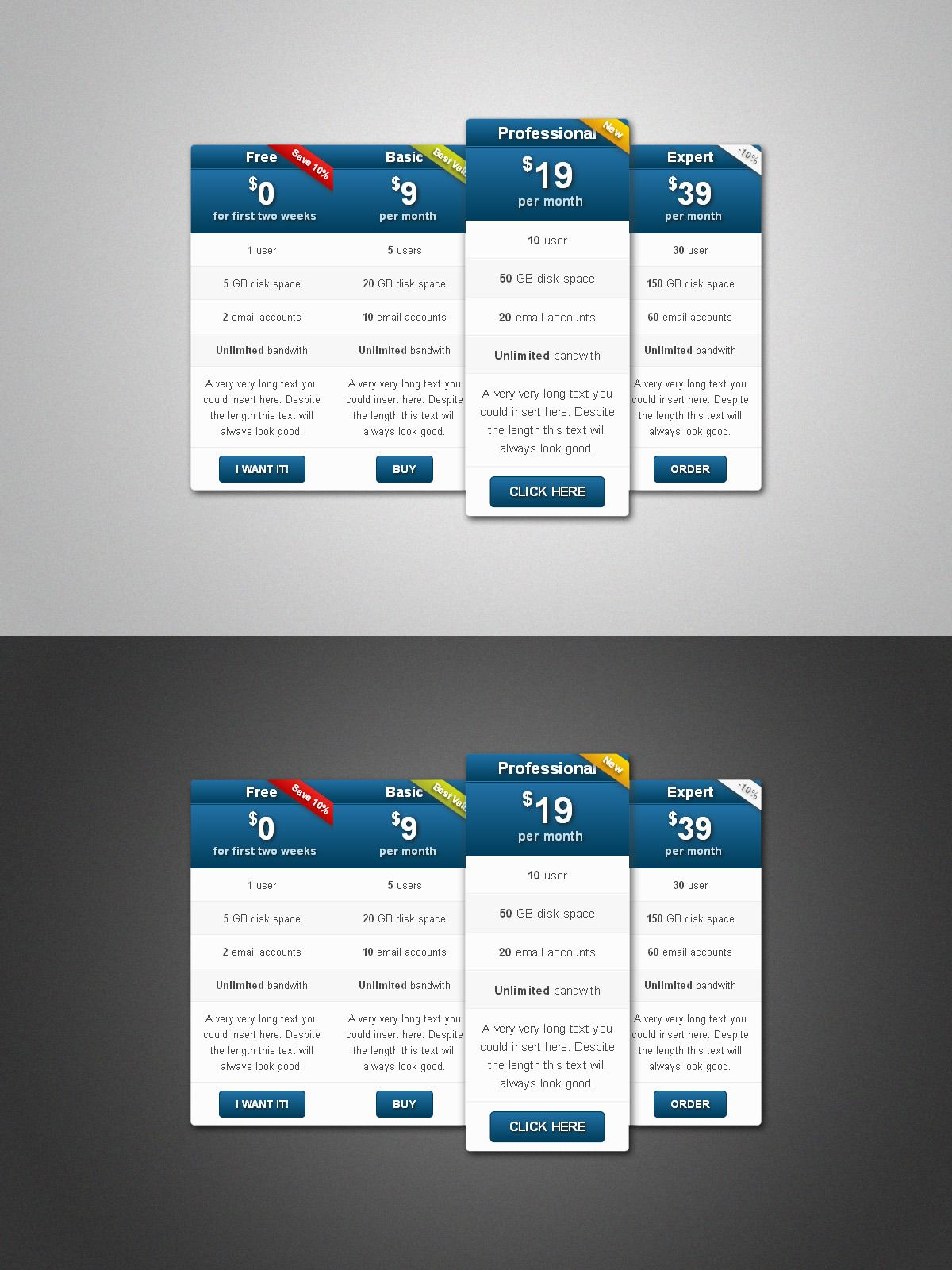 Multicolor Pure Css Pricing Table Pack Pricing Table Pure