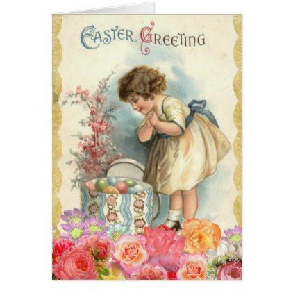 personalized easter card vintage girl and flowers card girl gifts