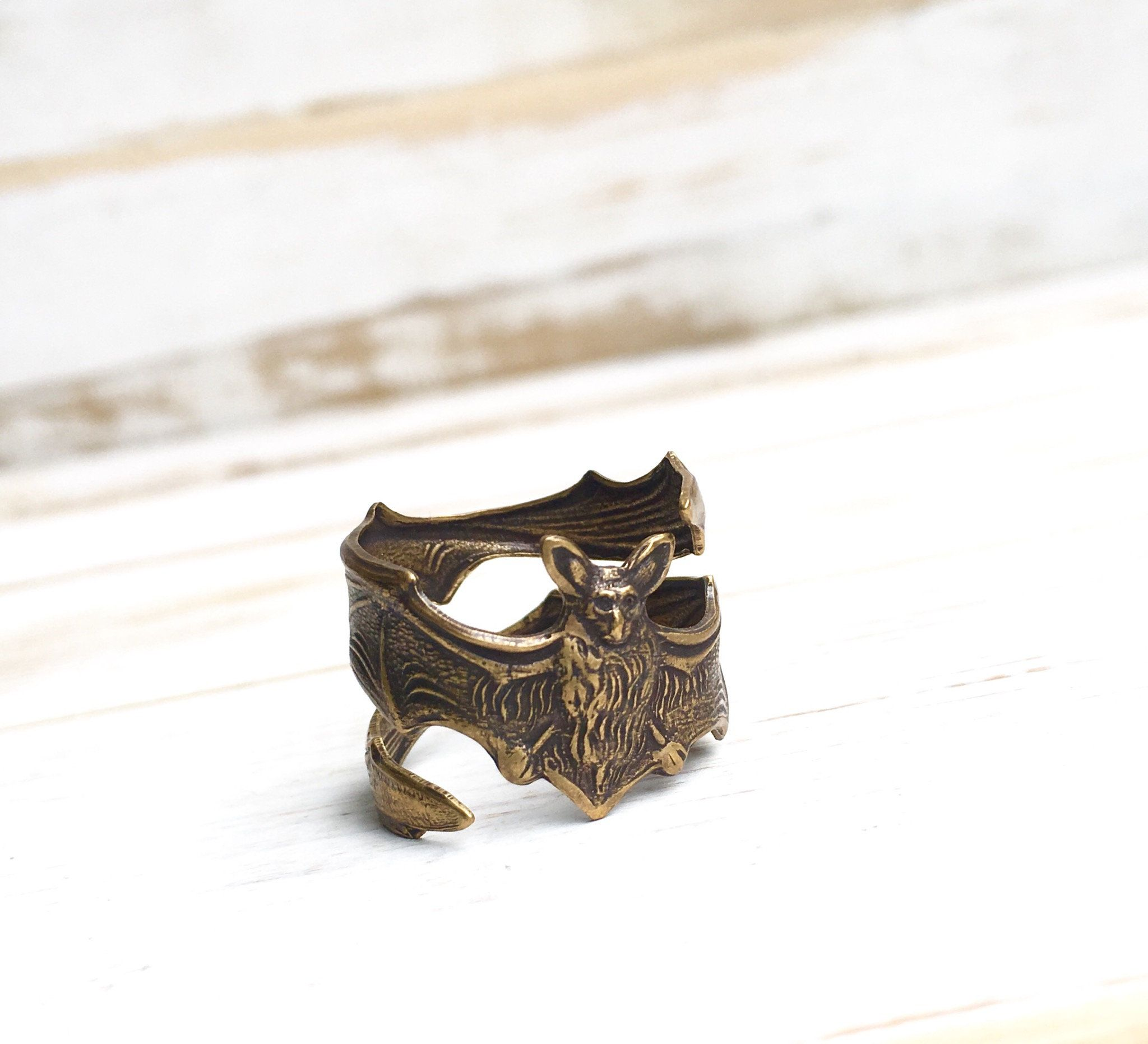 Bat Ring Antiqued Bat Jewelry Gift for Him Rustic Steampunk Thumb