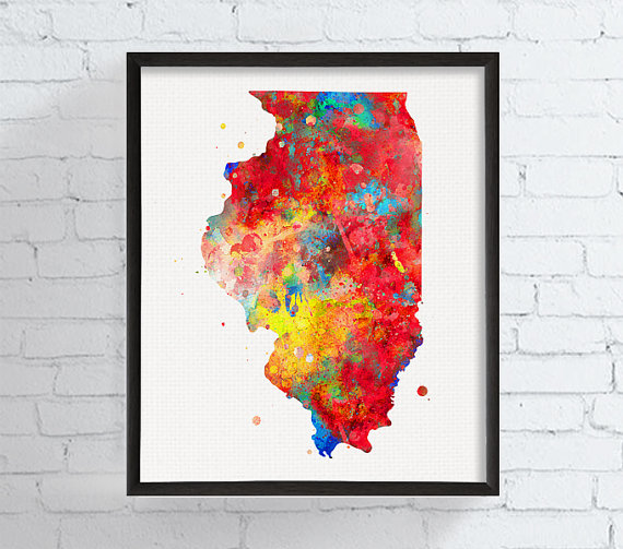 Illinois watercolor map print state map wall art housewarming t