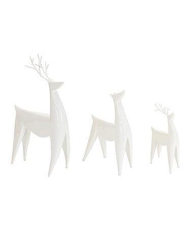 Look what I found on #zulily! White Deer Figurine - Set of Three #zulilyfinds