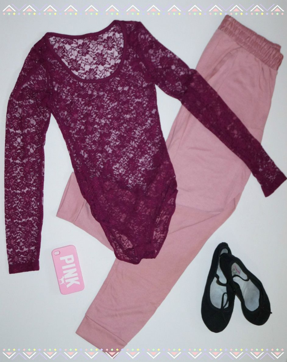 Outfit #4  Pink & Purple Combo. Purple lace leotard, pink pants. You'll love it!