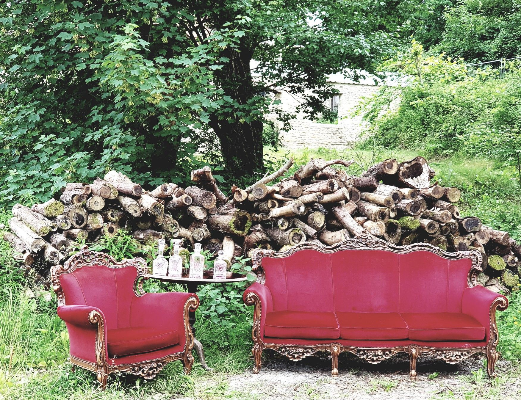 Alternative wedding styling baroque velvet sofa prop for hire for bohemian wedding or events in bristol and south west