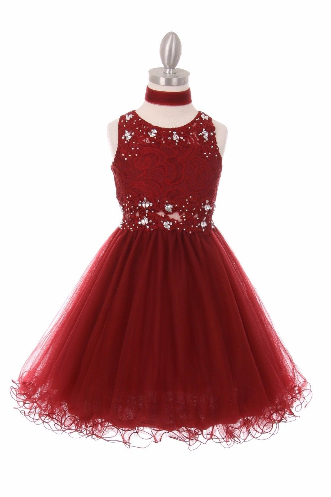 Girls formal occasion new burgundy lace tulle girls dress