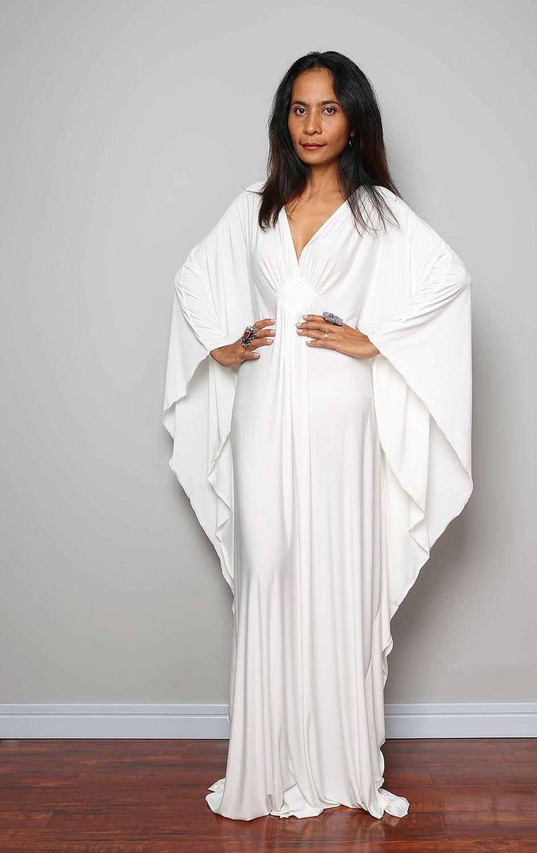 2f00a670c67 Off White Maxi Dress Kaftan Kimono Butterfly Dress  Funky