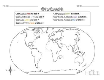 Label the Continents Continents, Black, white google