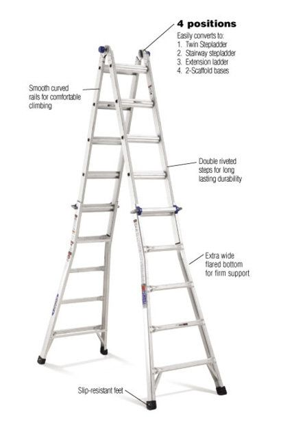 Werner 22 Ft Aluminum Telescoping Multi Position Ladder With 300 Lb Affiliate Ladder Multi Ladder Workplace Safety Tips