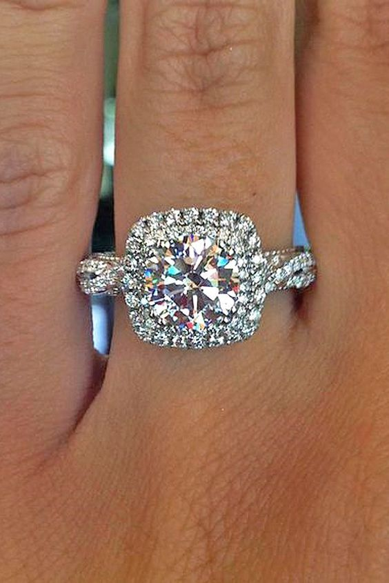 beautiful round with ringmoissanite halo moissanite vintage bridal puff cut rings floral hi ring jewellery gemstones il fhqd engagement miss