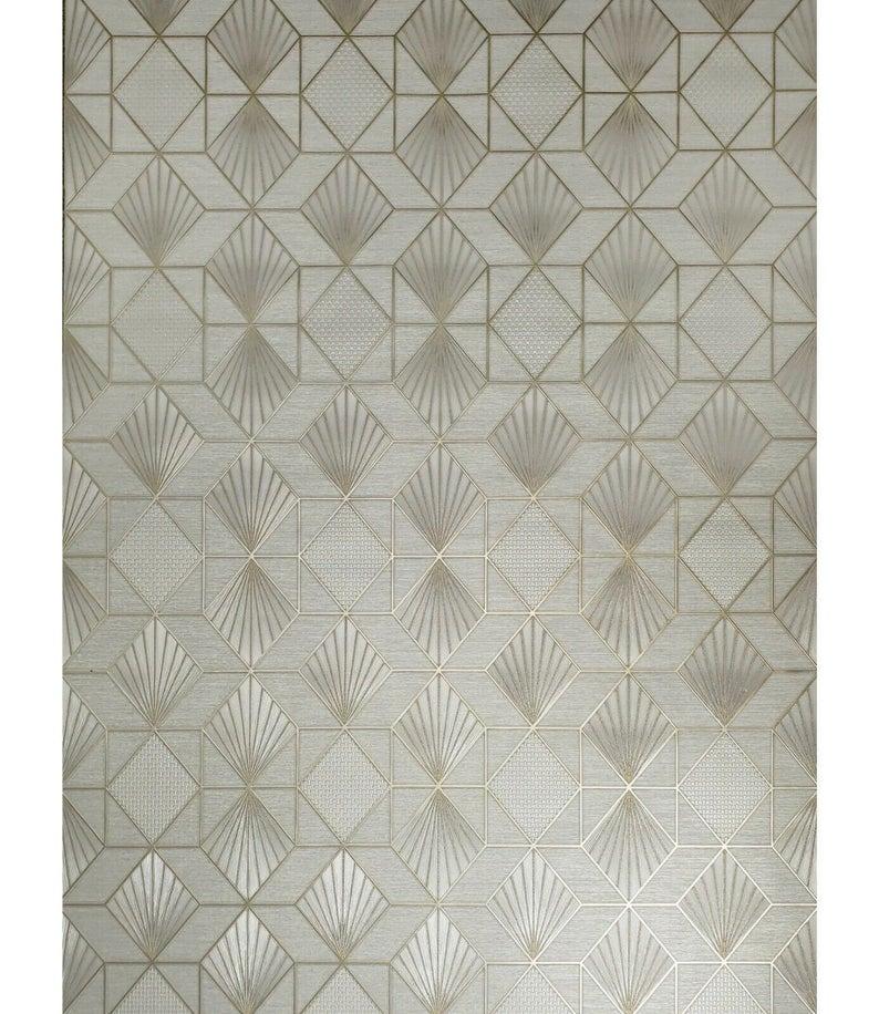 Modern Wallpaper Gray Gold metallic textured geometric