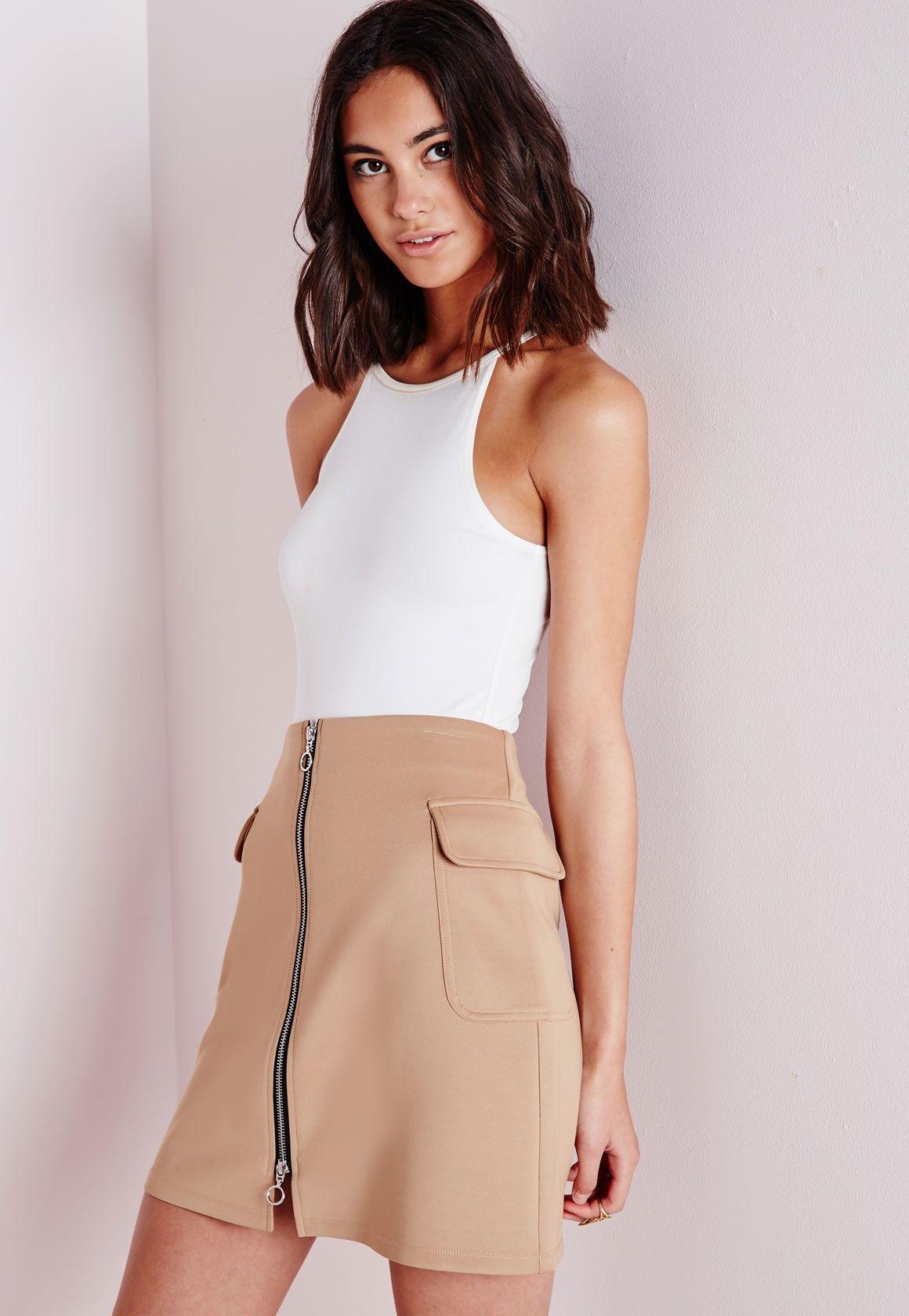 A Line Zip Skirt