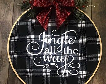 Photo of Farmhouse Embroidery Hoop Wreath * Merry Christmas