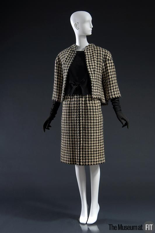 1961, France - Suit by André Courrèges - Charcoal and white houndstooth wool; suede