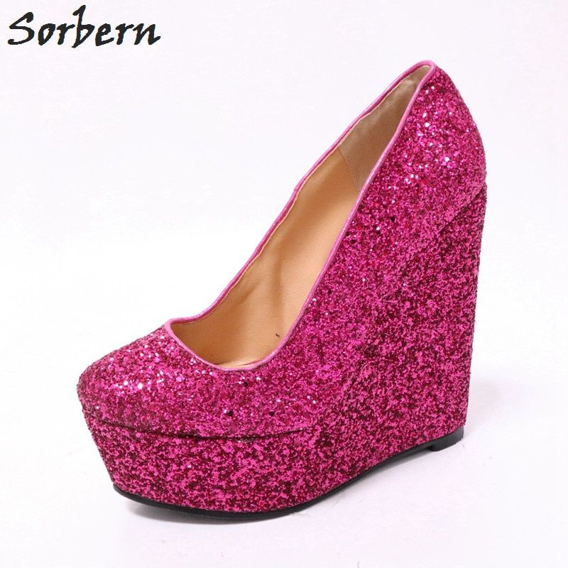 Find More Women s Pumps Information about Sorbern Hot Pink Glitter Women  Pumps Platform High Heels Shoes e7a1e7004f