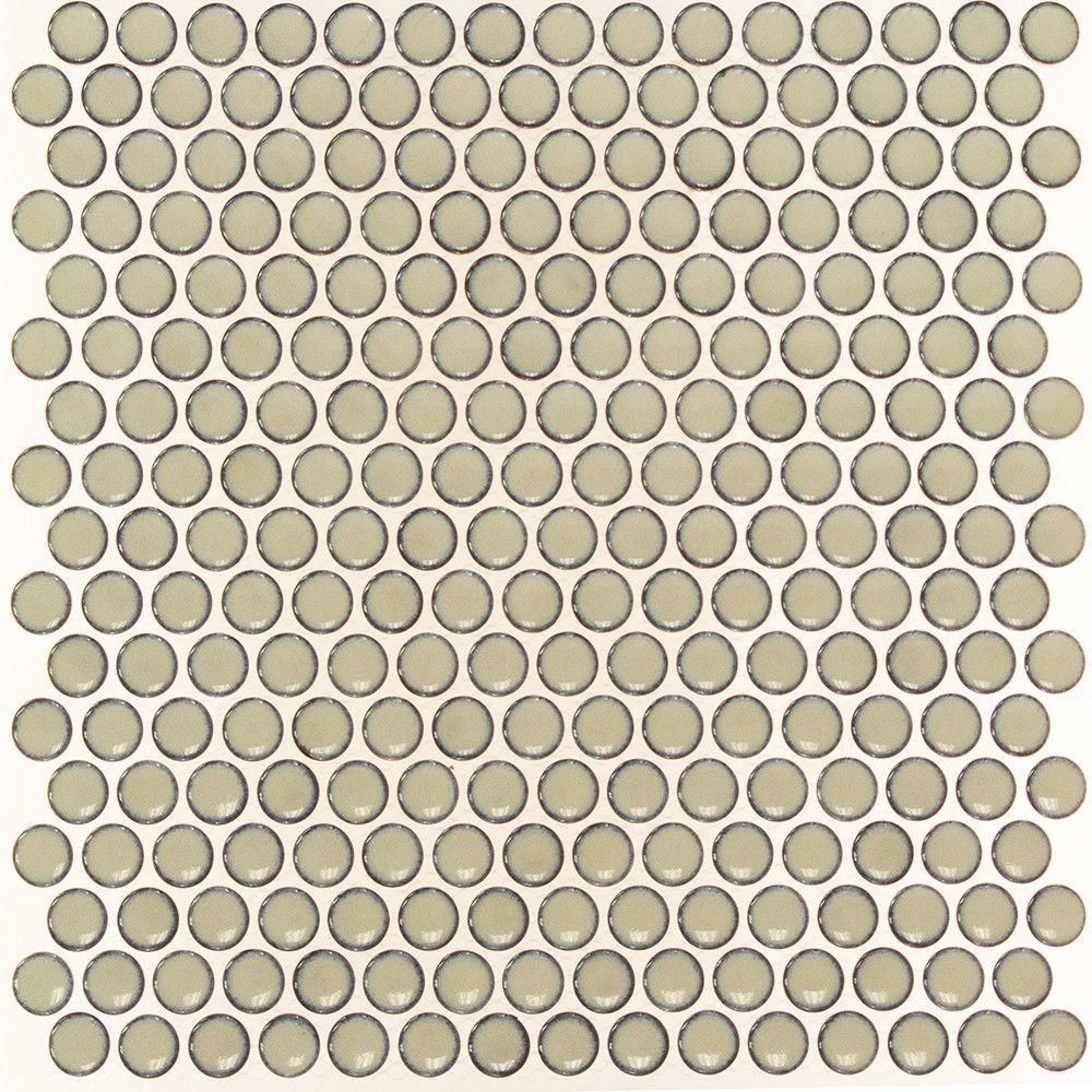 Sample Bliss Edged Penny Round Gray 12 x 12 Polished Ceramic Mosaic Sheet Tile