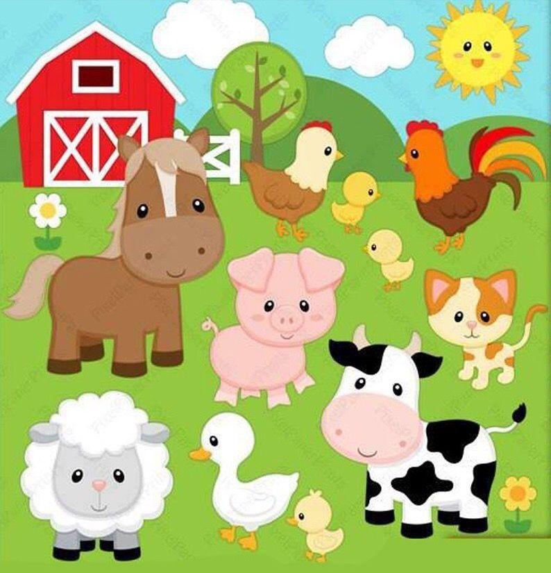 Farm Animals Animales De La Granja Animales De Granja Bebés Cumpleaños De Animales