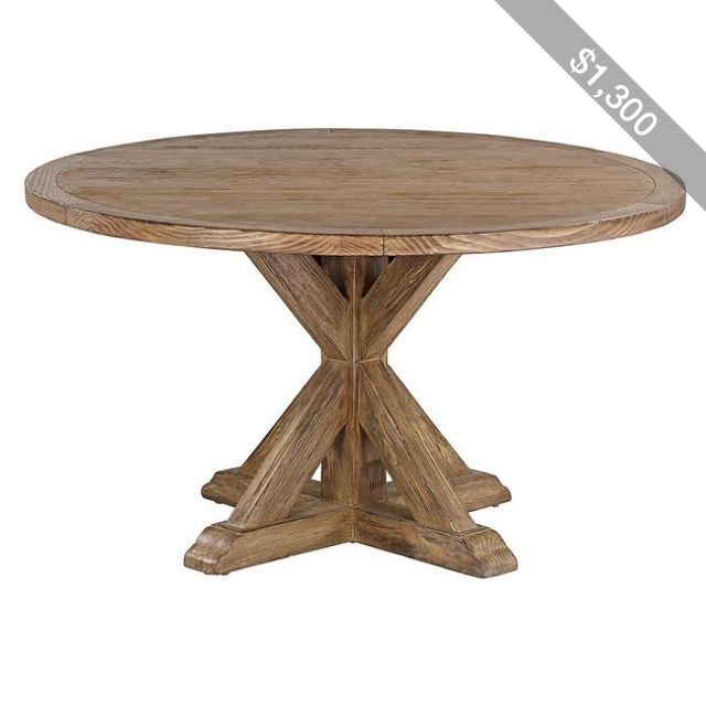 """Universal Lighting and Decor Simone 54"""" Round Reclaimed Wood Top Dining Table"""
