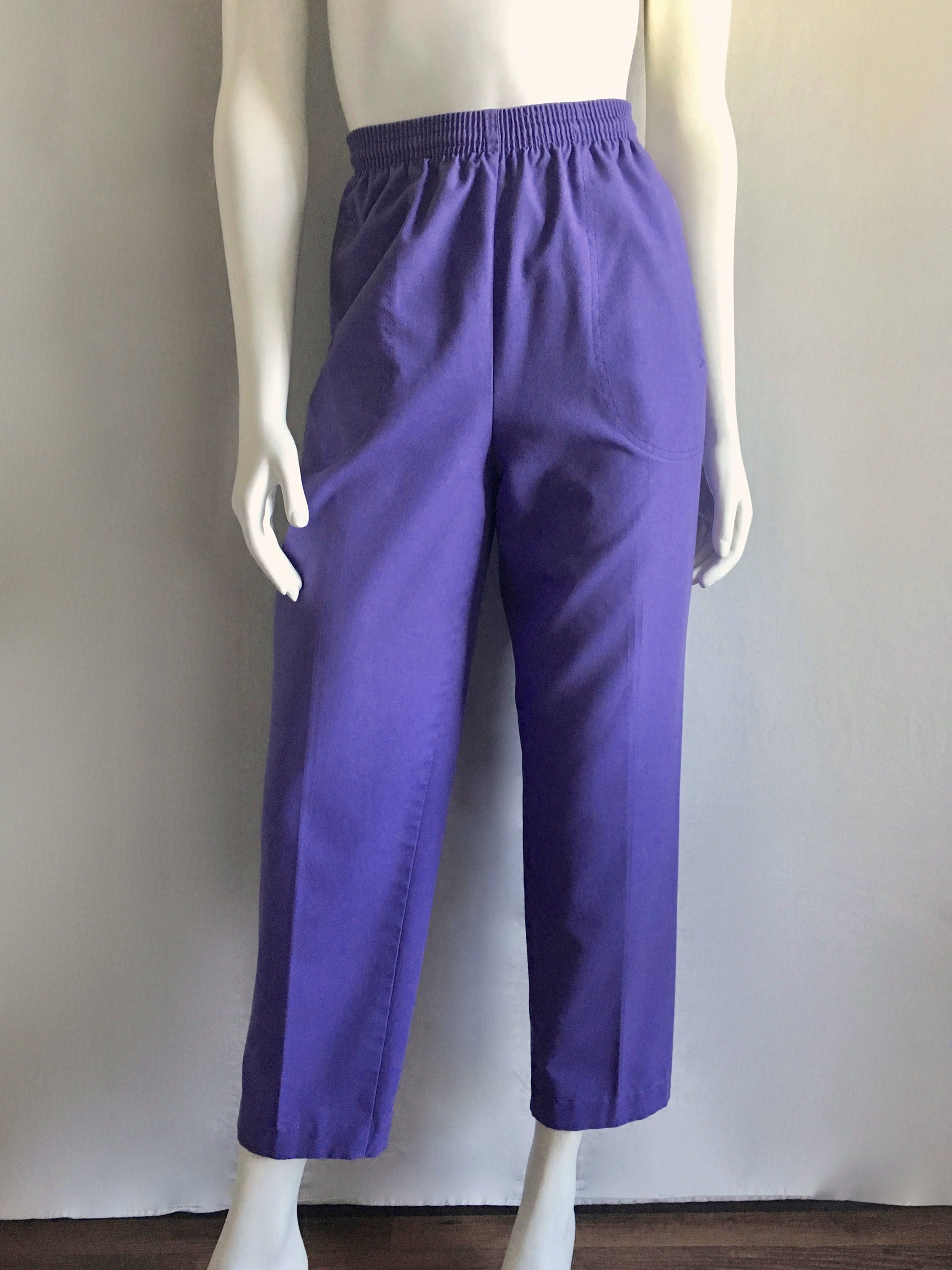 vtg 80s Lilac HIGH WAISTED pleated TROUSERS xs25 secretary pants tapered skinny lavender pastel purple high waist preppy