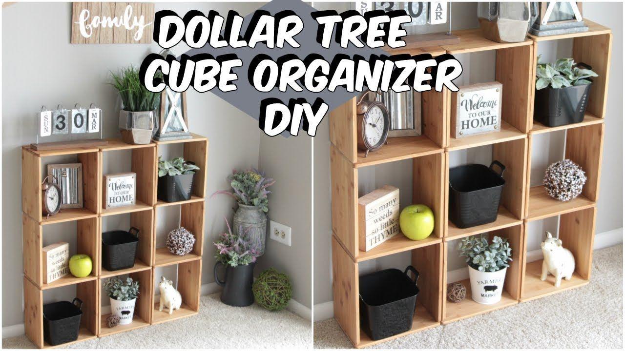 DOLLAR TREE WOOD CUBE ORGANIZER DIY YouTube Diy Home