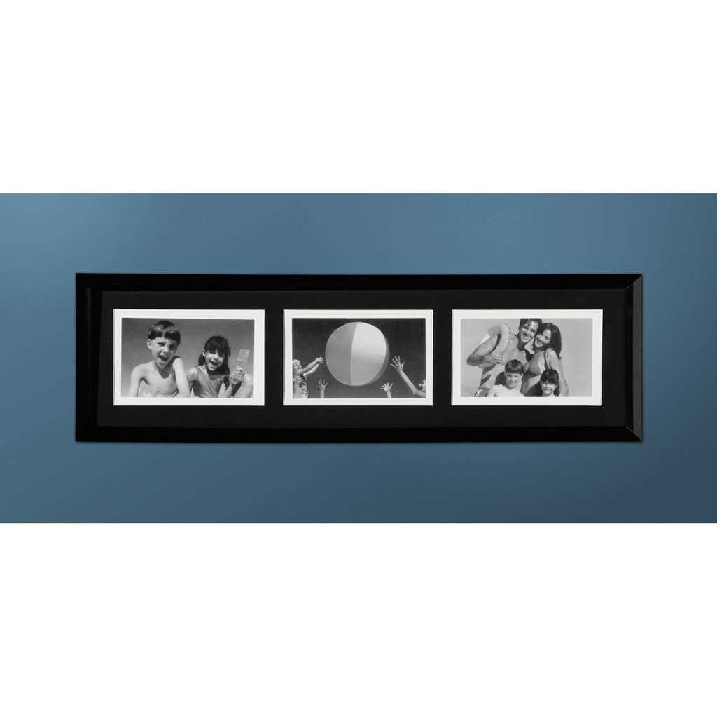 Photo Frame, Black Plastic, 3 Picture 4 x 6\