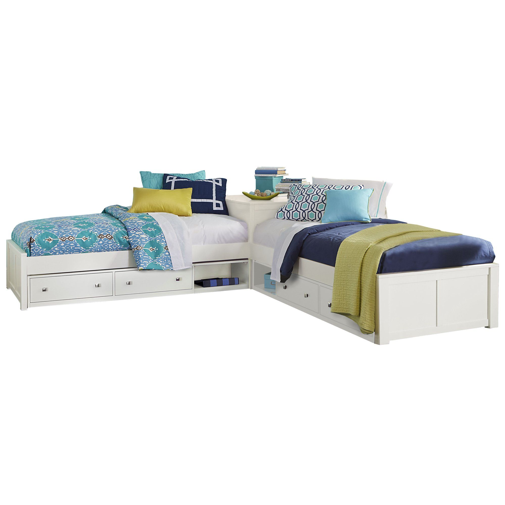 Pulse L Shaped Bed With Double Storage White Walmart Com L Shape Bed Two Twin Beds L Shaped Twin Beds