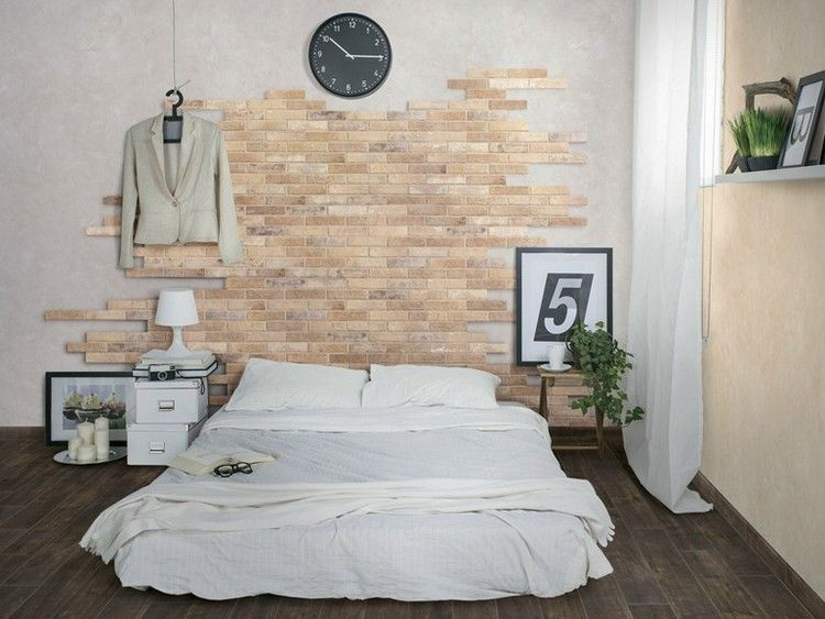 Wandgestaltung in Backsteinoptik im Schlafzimmer - Bristol von