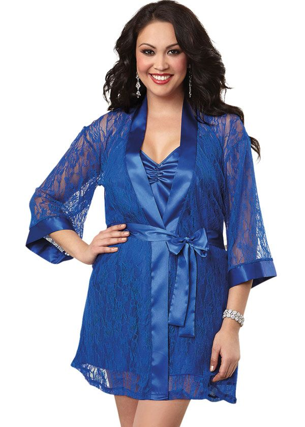 Blue Plus Size Lace Robe and Babydoll Set BBW Robe Blue Robe for
