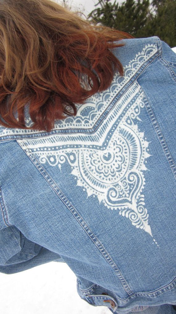 Items similar to Riders Jean Jacket size M with henna mehndi bleach design on back panel on Etsy