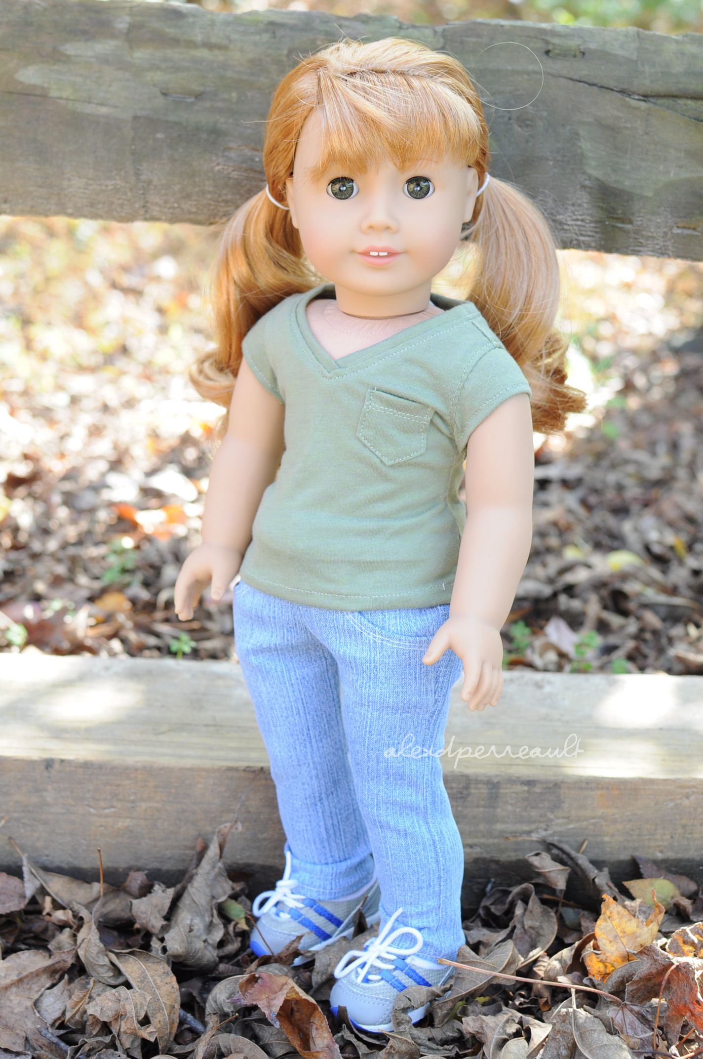 Tee by Sparrow and Wren, jeans by Maddie's Girls and sneakers are AG brand. American Girl