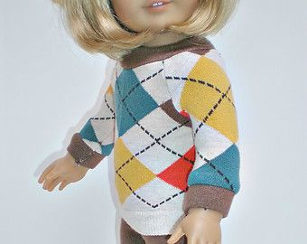 American Girl Doll Clothes -- Argyle Sweater, Leggings, Boots *** fits American Girl 18 inch doll