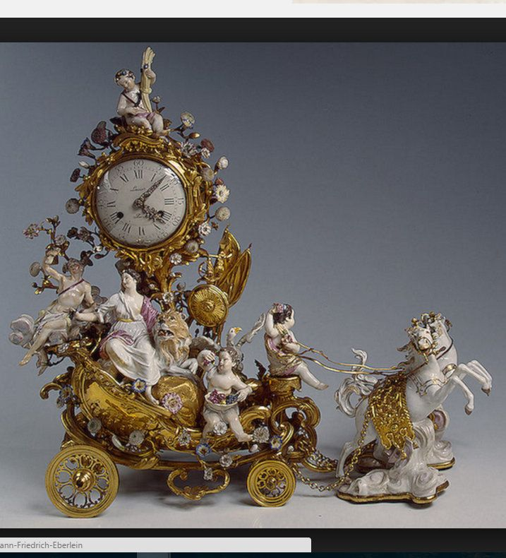 Meissen Porcelain Manufactory, figures by models of Johann Friedrich Eberlein and Johann Joachim Kändler. Clock in the Form of a Chariot. Mid-18th c. Porcelain and bronze; overglaze painting with gilding. State Hermitage Museum. St. Petersburg, Russia.