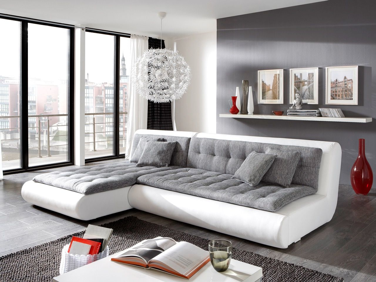 Wohnzimmer Grau Weiß Lila
