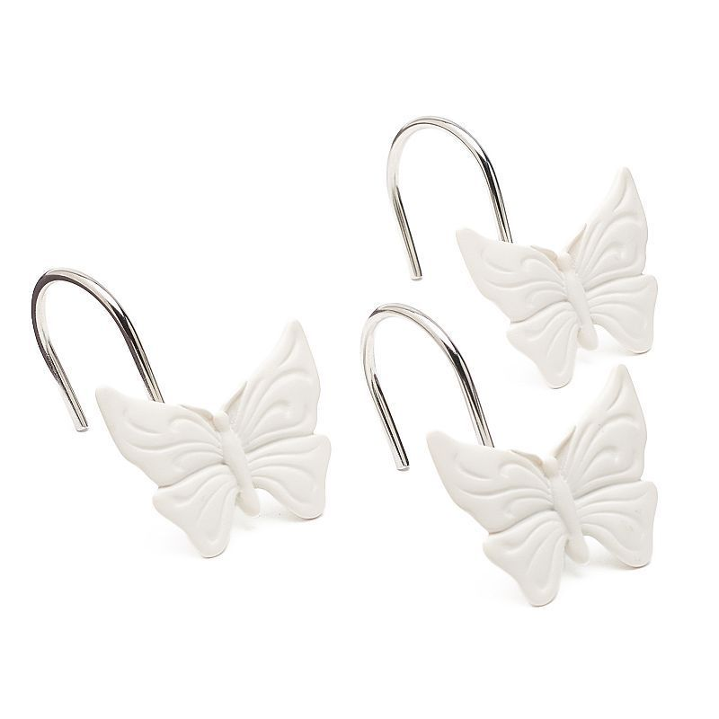 LC Lauren Conrad 12 Pack Butterfly Shower Curtain Hooks White
